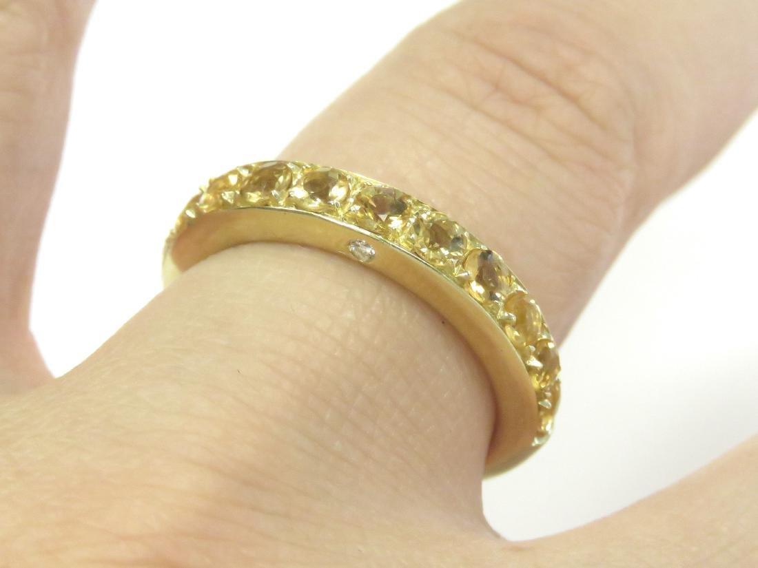 ITALIAN 18K YELLOW GOLD, CITRINE AND DIAMOND RING SET