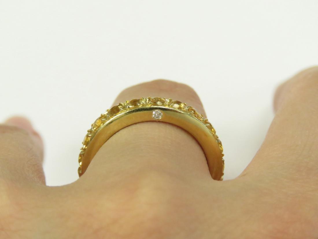 ITALIAN 18K YELLOW GOLD, CITRINE AND DIAMOND RING SET - 3