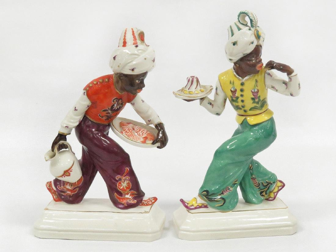 PAIR SCHWARZBURGER DECORATED PORCELAIN BLACKAMOOR