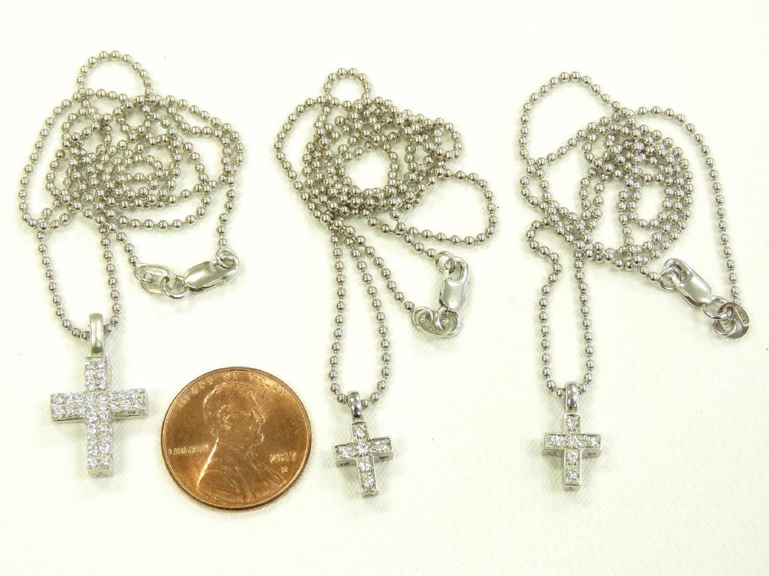LOT (3) 18K WHITE GOLD AND DIAMOND CROSS PENDANTS WITH