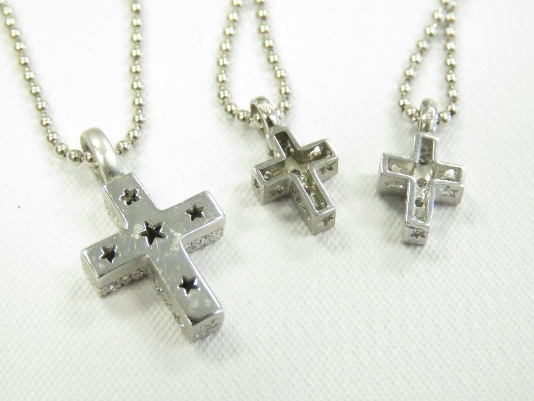 LOT (3) 18K WHITE GOLD AND DIAMOND CROSS PENDANTS WITH - 2