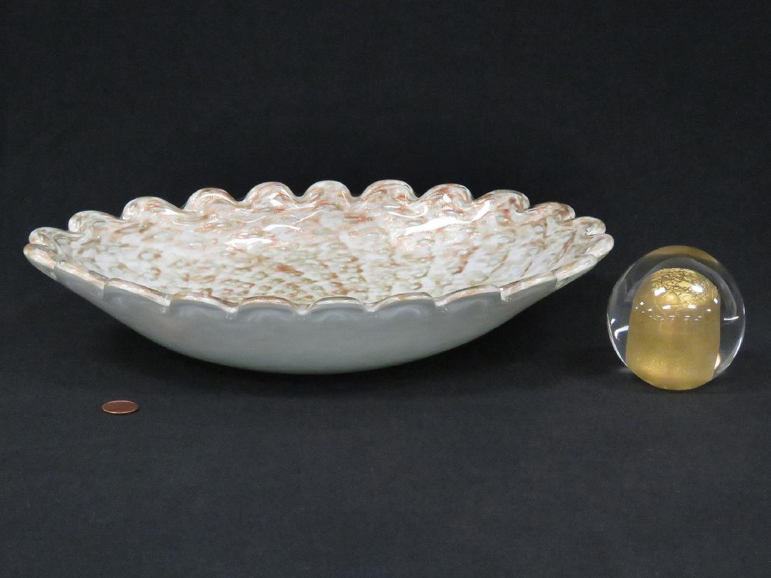 LOT (2) MURANO AVENTURINE ART GLASS INCLUDING SCALLOPED