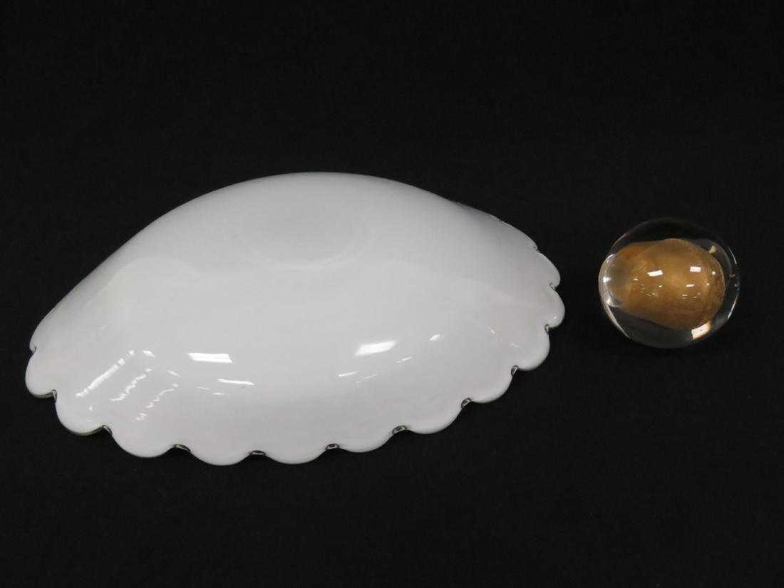 LOT (2) MURANO AVENTURINE ART GLASS INCLUDING SCALLOPED - 5