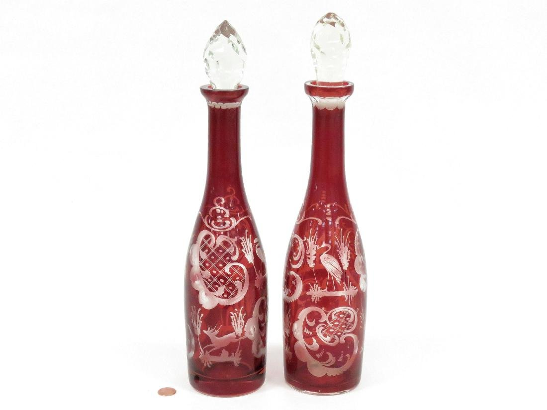 PAIR VINTAGE BOHEMIAN RUBY-TO-CLEAR GLASS DECANTERS.