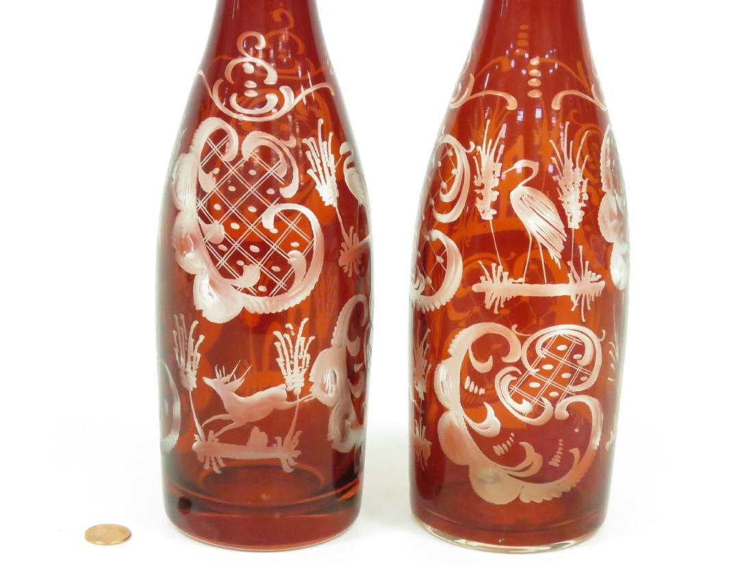 PAIR VINTAGE BOHEMIAN RUBY-TO-CLEAR GLASS DECANTERS. - 2