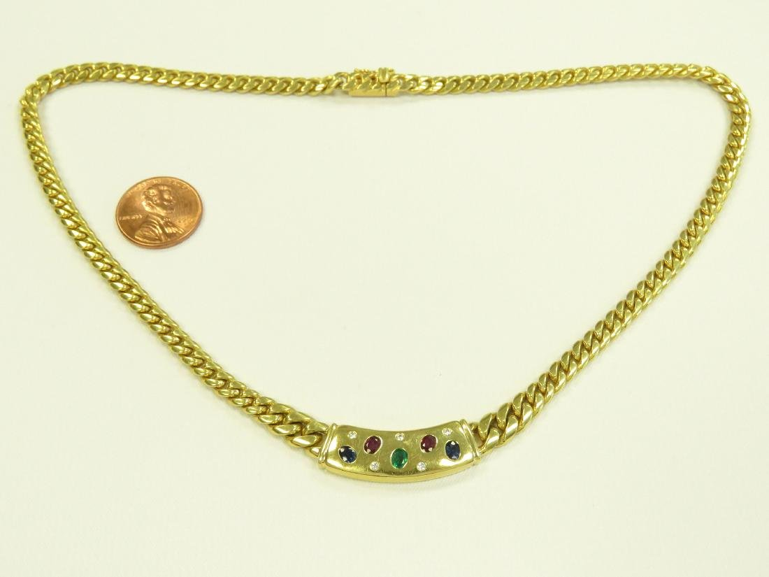750 YELLOW GOLD CHAIN LINK NECKLACE SET WITH SAPPHIRE,