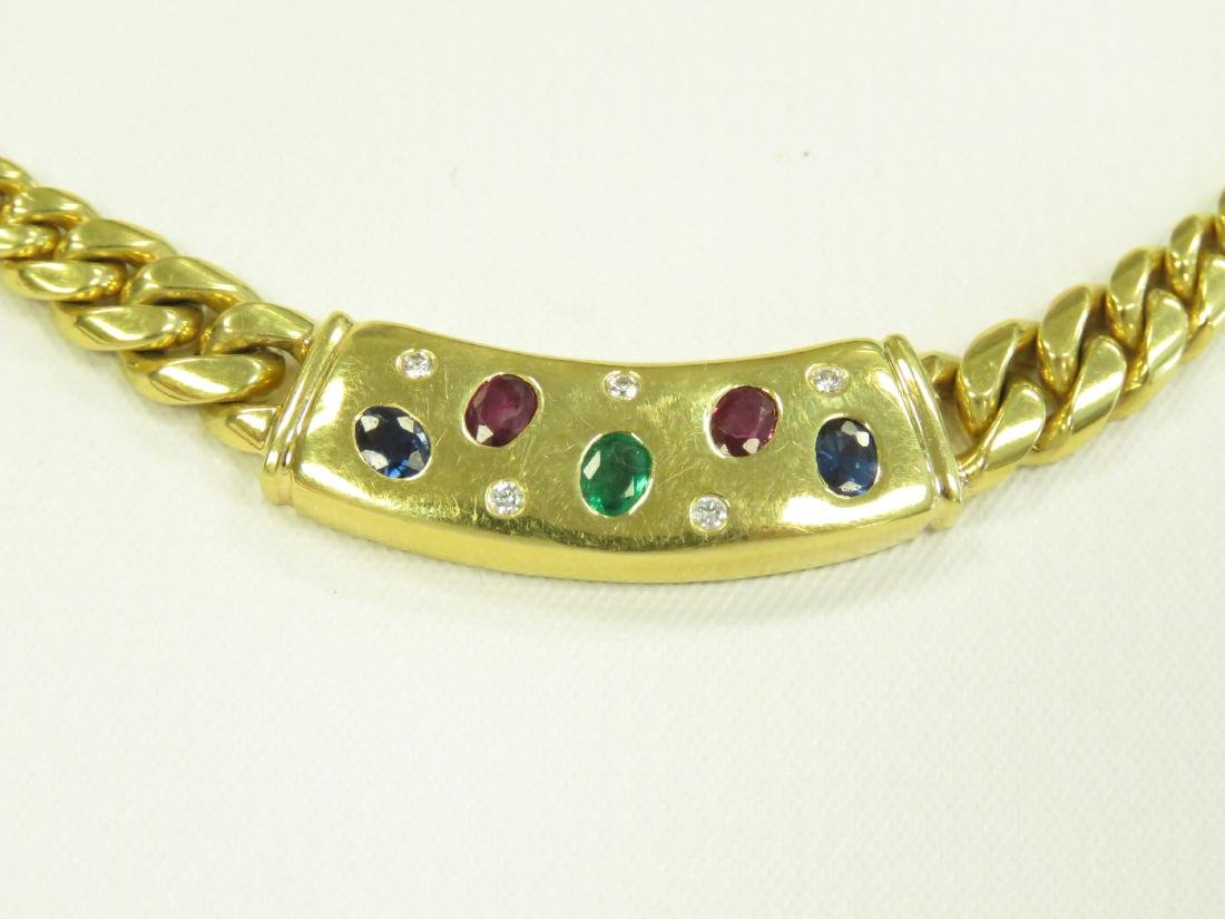 750 YELLOW GOLD CHAIN LINK NECKLACE SET WITH SAPPHIRE, - 2