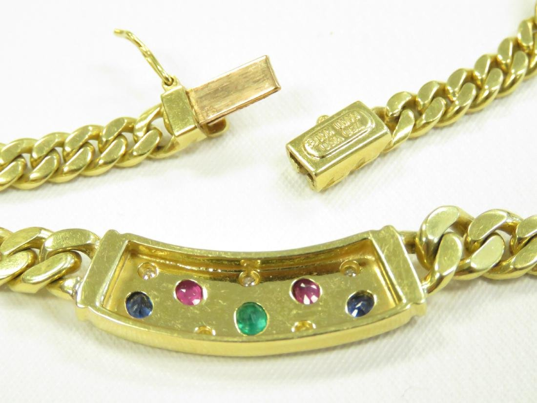750 YELLOW GOLD CHAIN LINK NECKLACE SET WITH SAPPHIRE, - 3