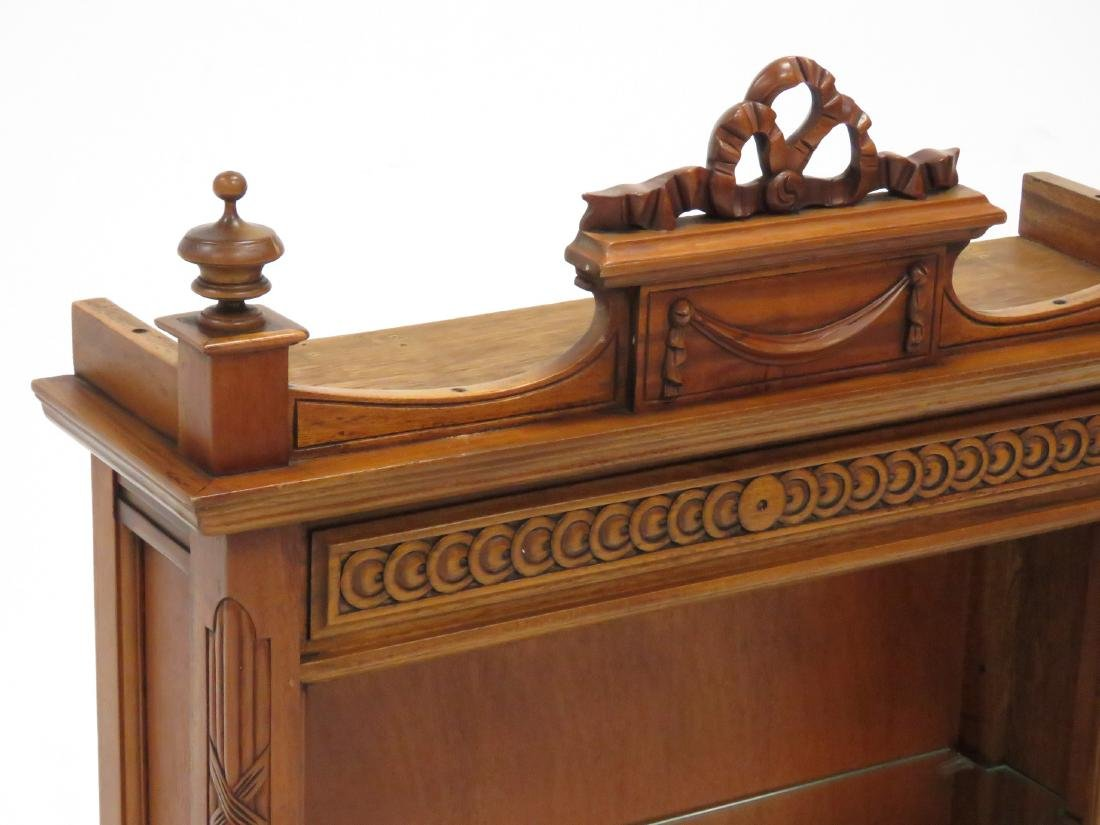 FRENCH STYLE CARVED MAHOGANY STANDING SHELF WITH (2) - 2