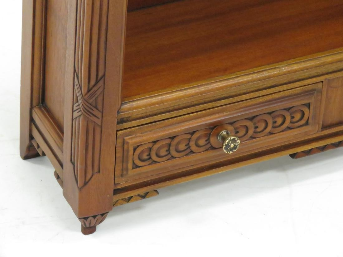FRENCH STYLE CARVED MAHOGANY STANDING SHELF WITH (2) - 3