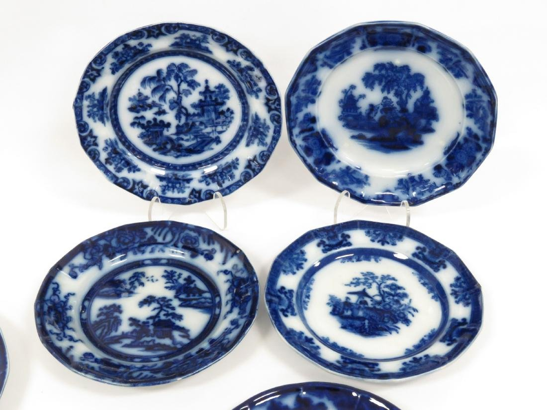 LOT (14) ASSORTED FLOW BLUE PLATES/SAUCERS INCLUDING - 4