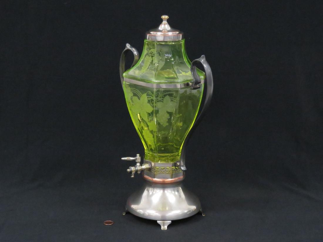 VINTAGE ETCHED VASELINE GLASS WINE SERVER WITH - 2