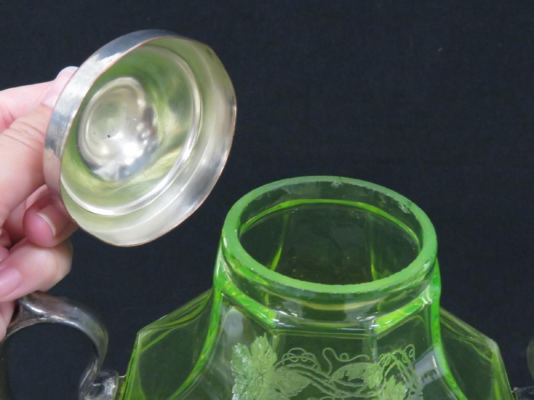 VINTAGE ETCHED VASELINE GLASS WINE SERVER WITH - 5