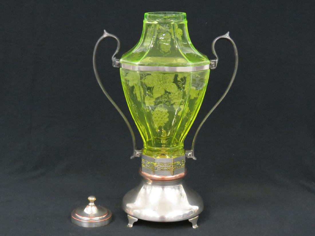 VINTAGE ETCHED VASELINE GLASS WINE SERVER WITH - 6