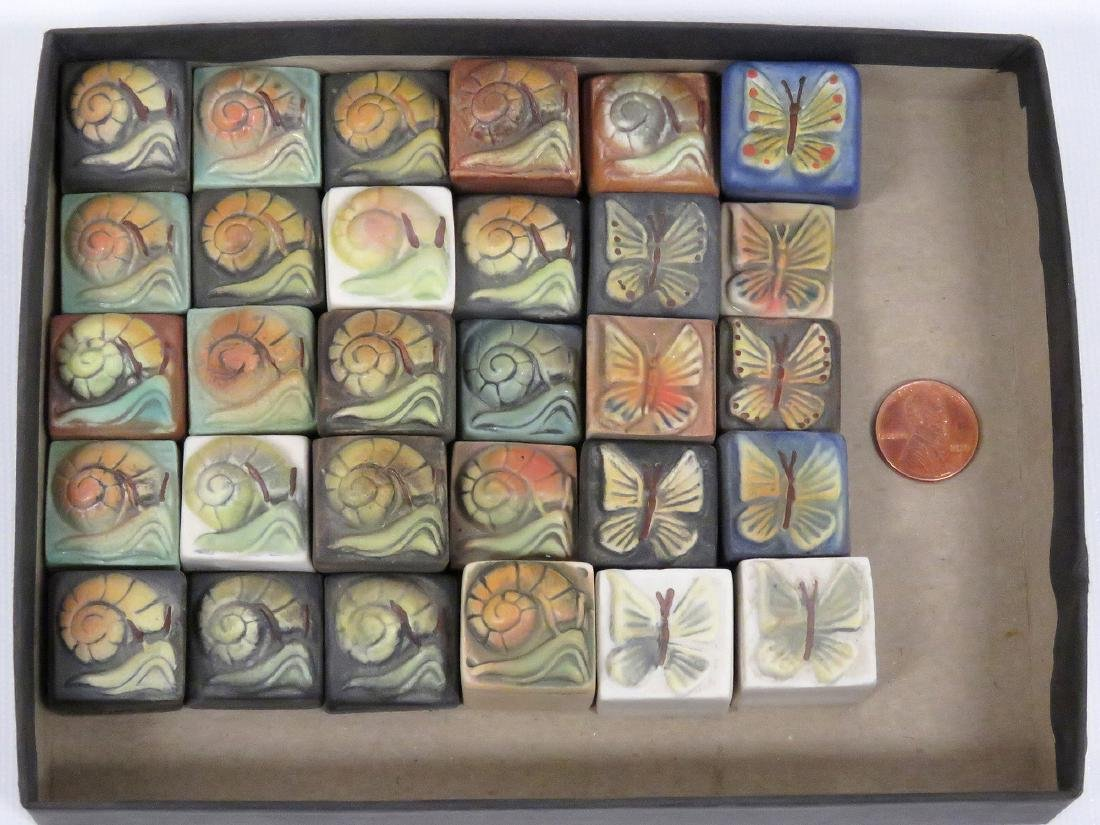 LOT (30) SURVING STUDIOS HIGH RELIEF CERAMIC TILES