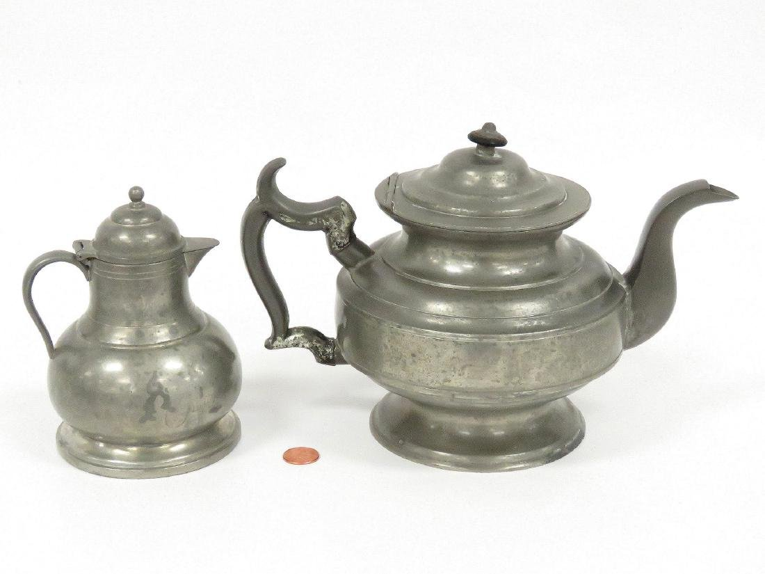 LOT (2) PEWTER, 19TH CENTURY INCLUDING TEAPOT, HEIGHT