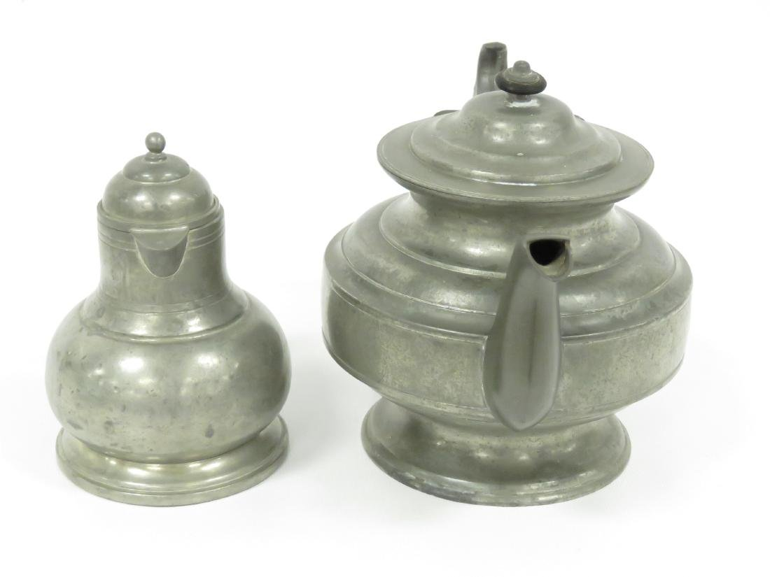 LOT (2) PEWTER, 19TH CENTURY INCLUDING TEAPOT, HEIGHT - 2
