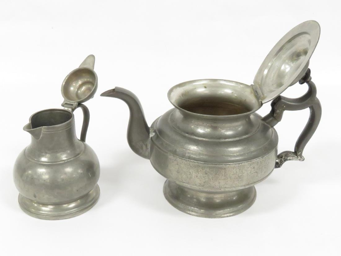 LOT (2) PEWTER, 19TH CENTURY INCLUDING TEAPOT, HEIGHT - 3