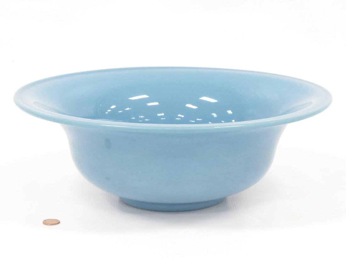 FRENCH BLUE OPALINE GLASS BASIN, 19TH CENTURY. HEIGHT