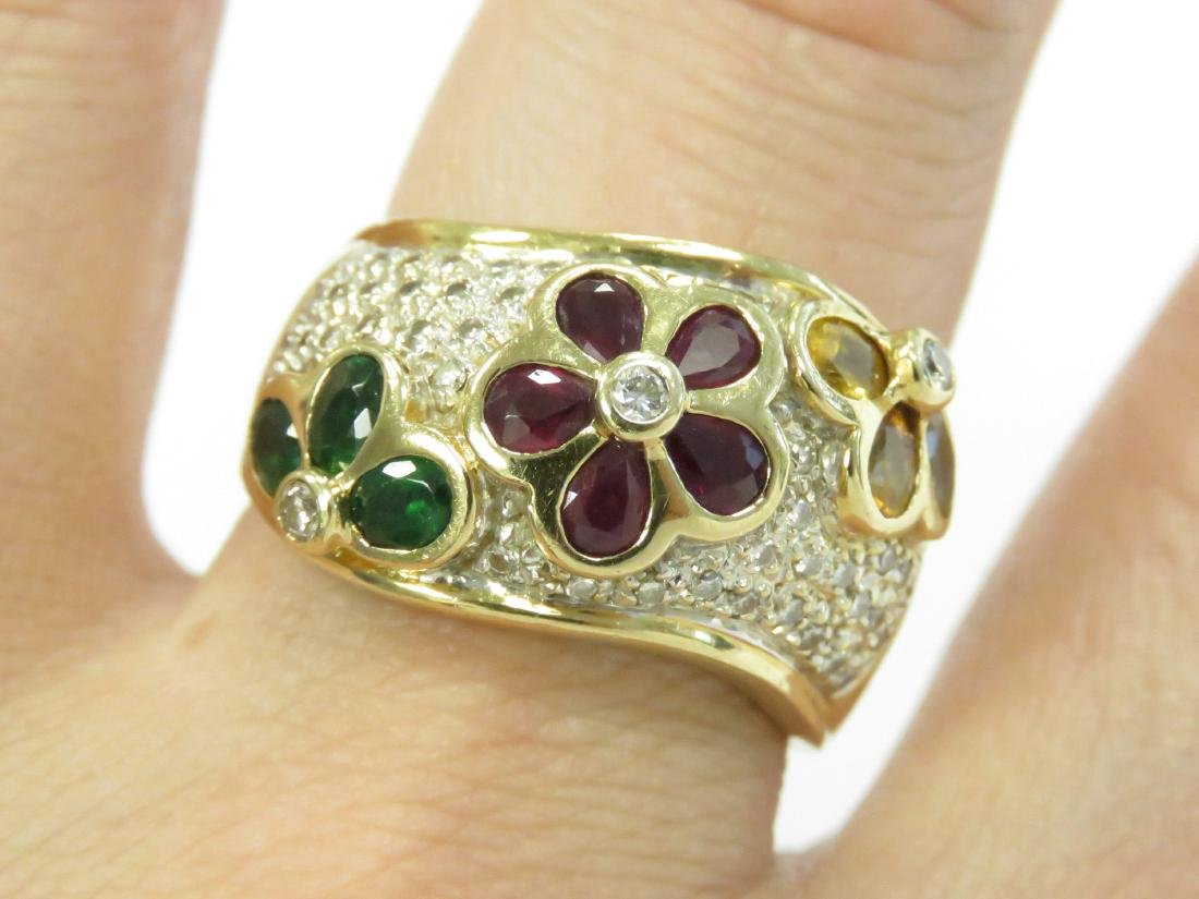 YELLOW GOLD (TESTS 14K) DIAMOND AND GEM SET RING WITH