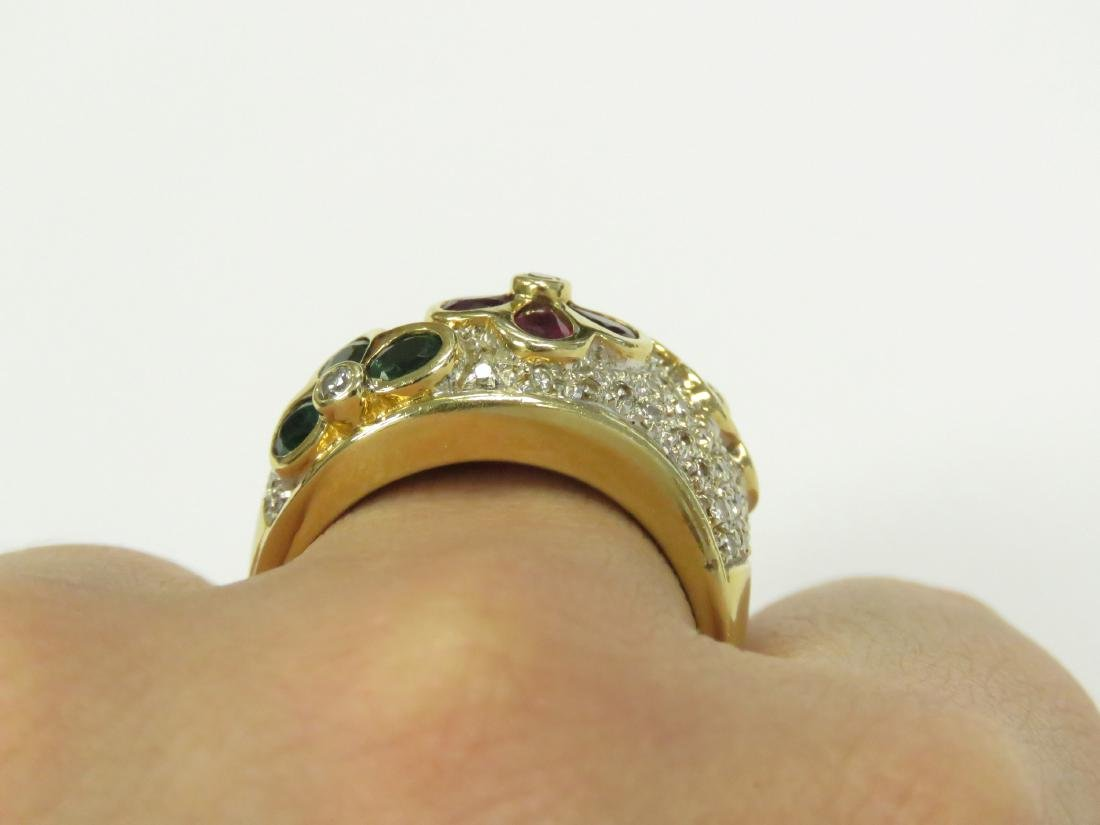 YELLOW GOLD (TESTS 14K) DIAMOND AND GEM SET RING WITH - 3