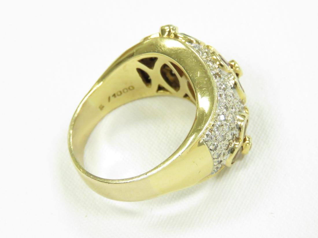 YELLOW GOLD (TESTS 14K) DIAMOND AND GEM SET RING WITH - 4