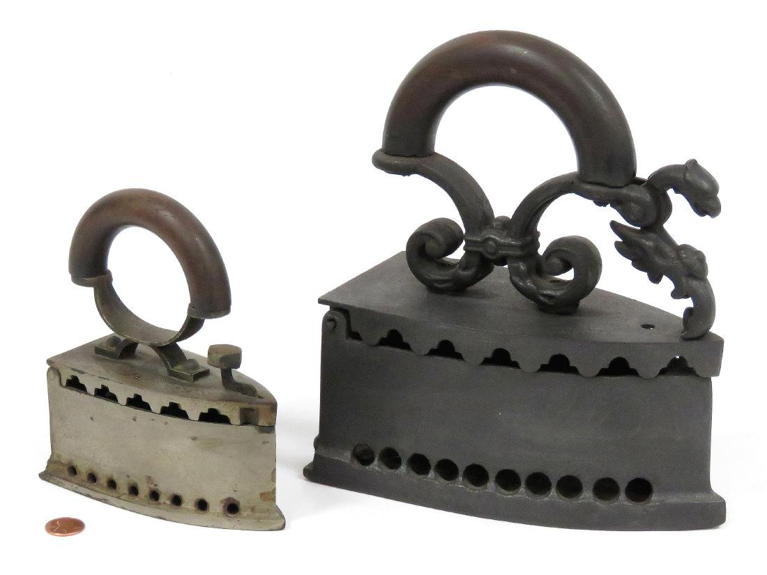 """LOT (2) ANTIQUE CHARCOAL IRONS. LENGTH 5 3/8-8"""""""