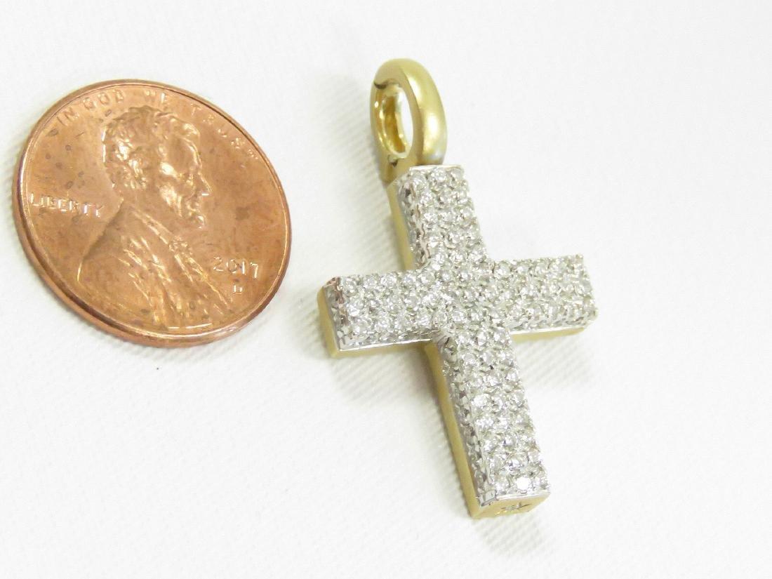 ITALIAN 18K YELLOW GOLD AND DIAMOND CROSS/PENDANT. 1
