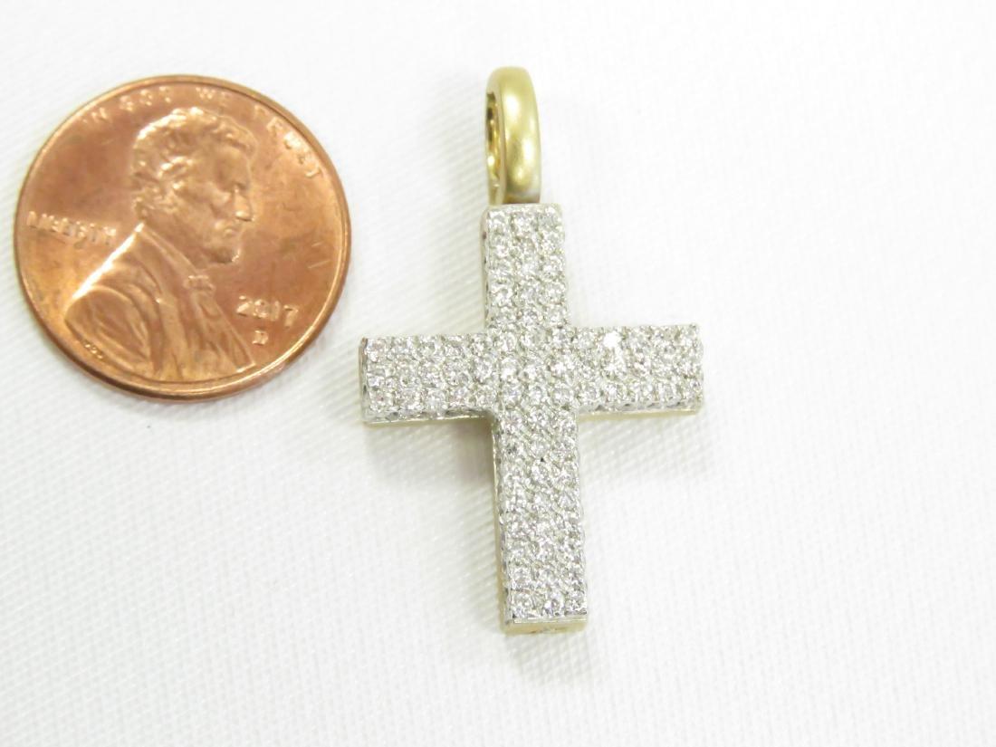 ITALIAN 18K YELLOW GOLD AND DIAMOND CROSS/PENDANT. 1 - 2