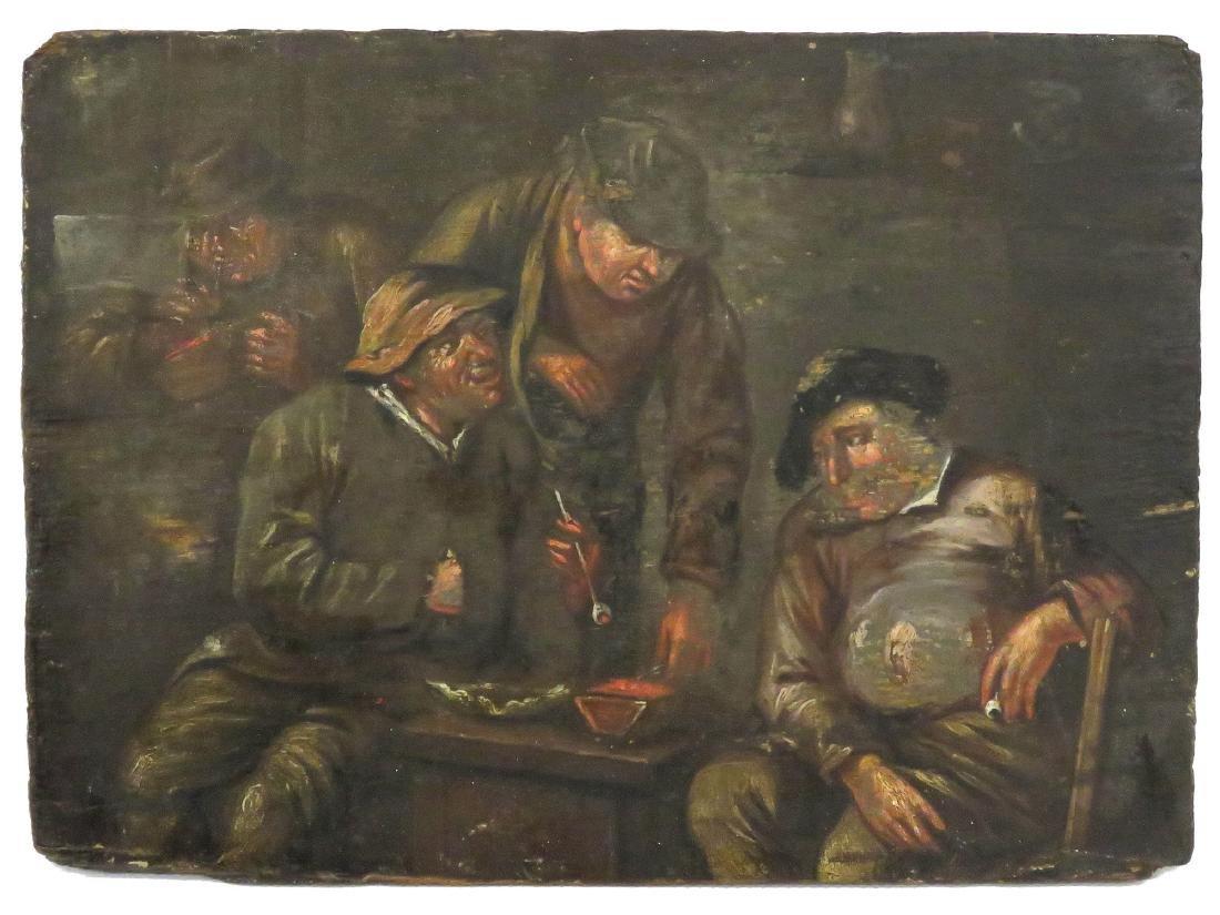 FLEMISH SCHOOL (18TH CENTURY), OIL ON PANEL, FIGURES IN