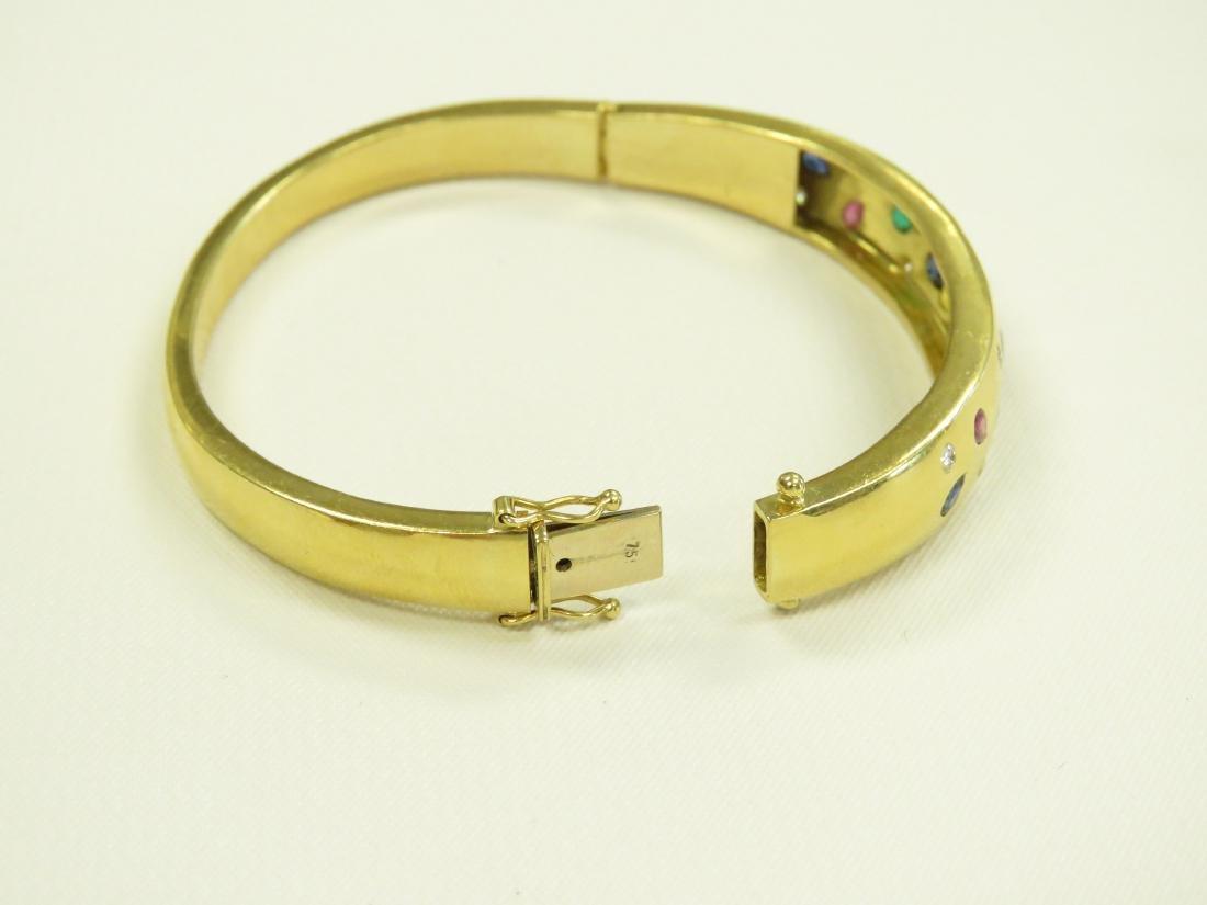 750 YELLOW GOLD GEM-SET HINGED BANGLE BRACELET WITH - 3