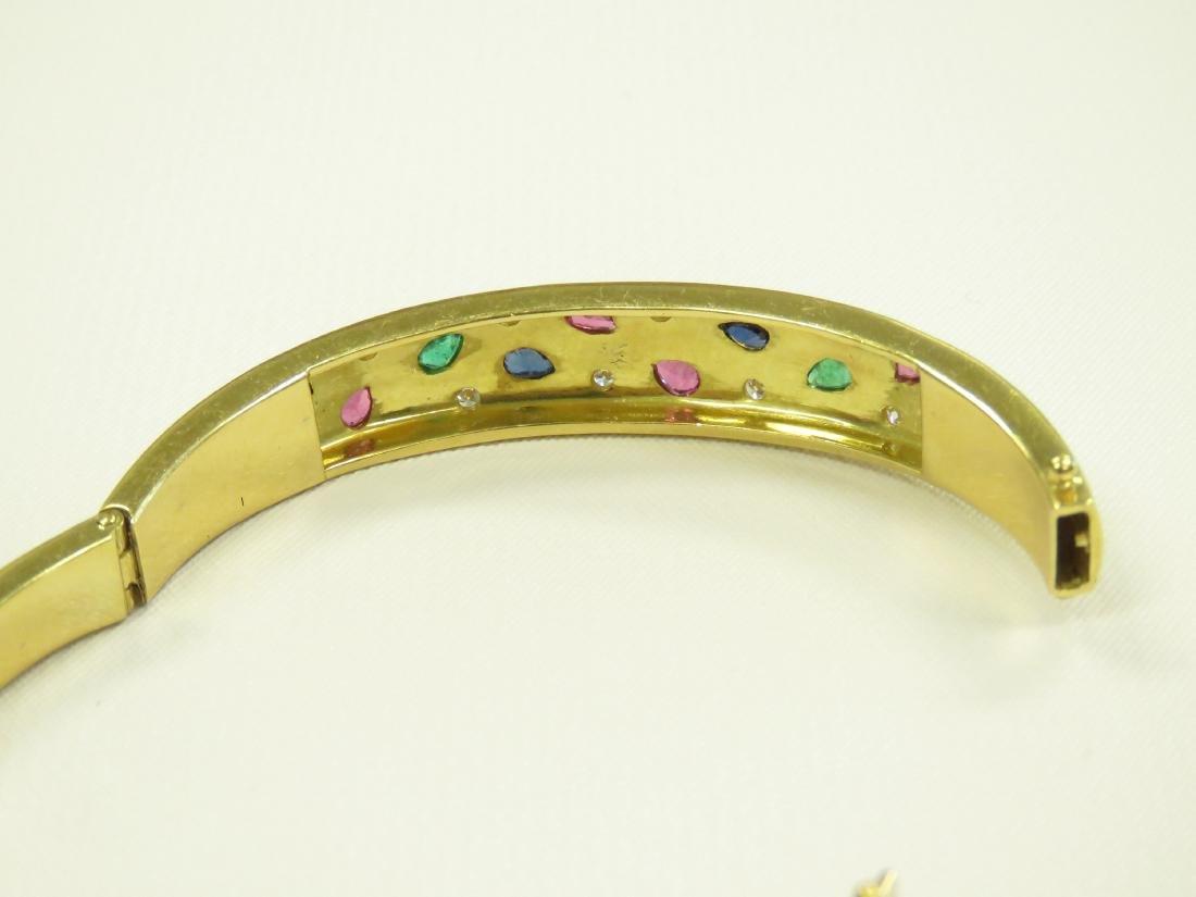 750 YELLOW GOLD GEM-SET HINGED BANGLE BRACELET WITH - 4