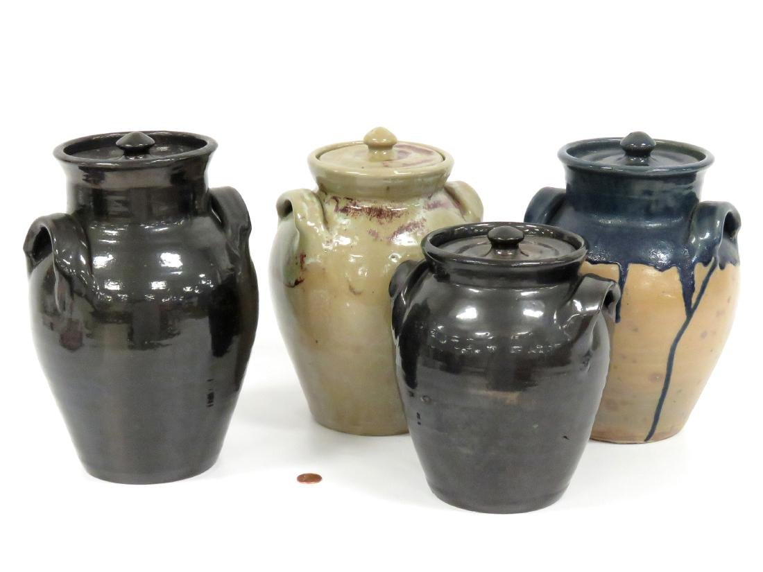 LOT (4) JUG TOWN POTTERY DOUBLE-HANDLE COVERED JARS,