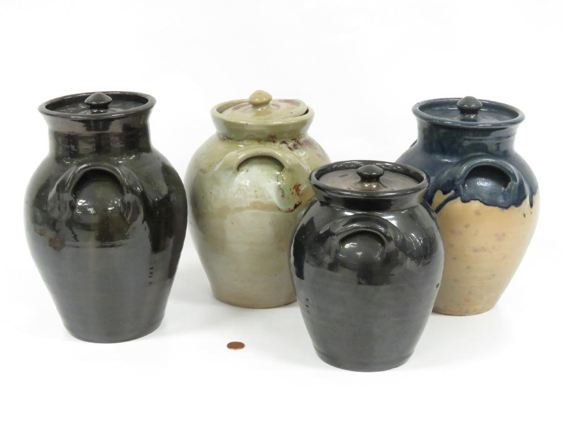 LOT (4) JUG TOWN POTTERY DOUBLE-HANDLE COVERED JARS, - 2