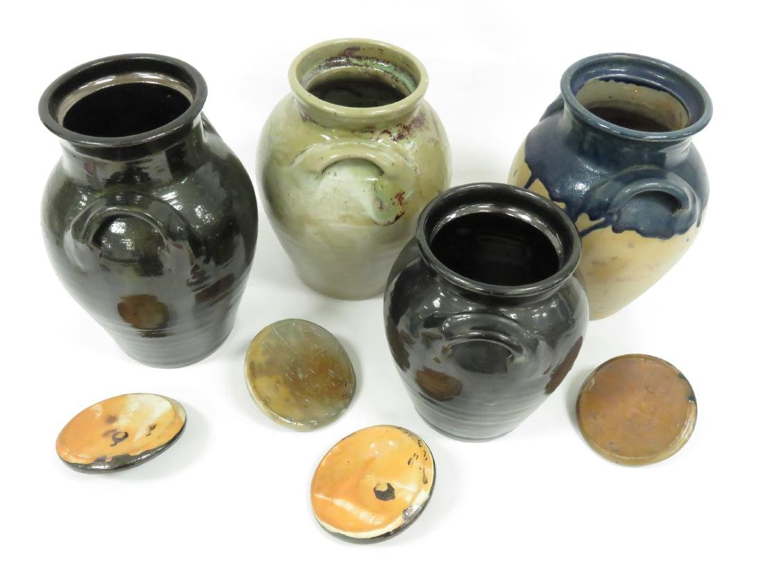 LOT (4) JUG TOWN POTTERY DOUBLE-HANDLE COVERED JARS, - 3
