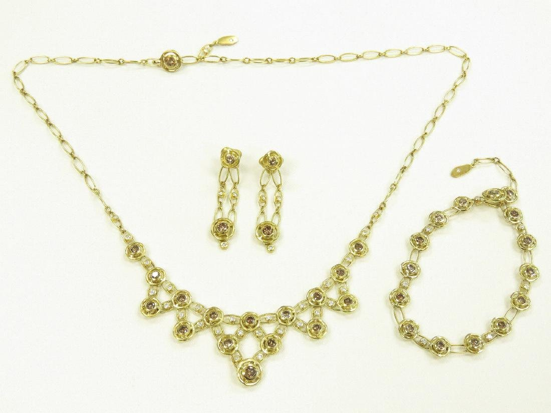 SET (3) 750 YELLOW GOLD CHOCOLATE/WHITE DIAMOND