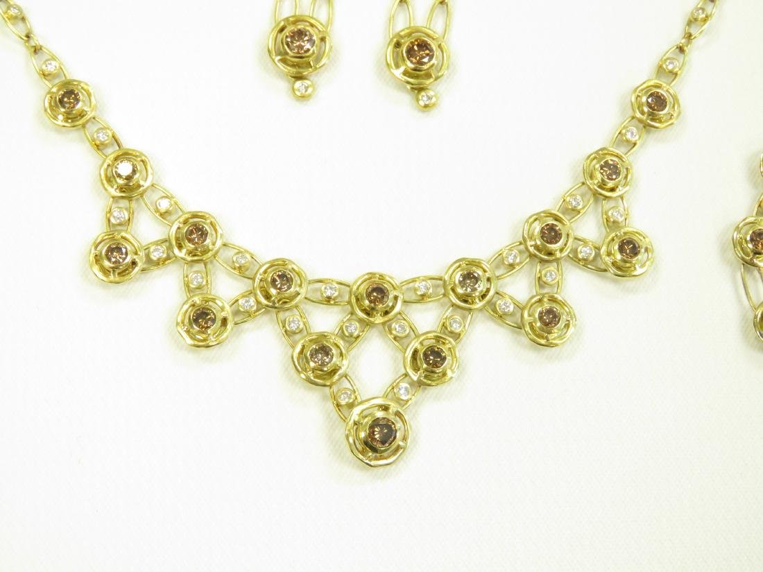 SET (3) 750 YELLOW GOLD CHOCOLATE/WHITE DIAMOND - 2