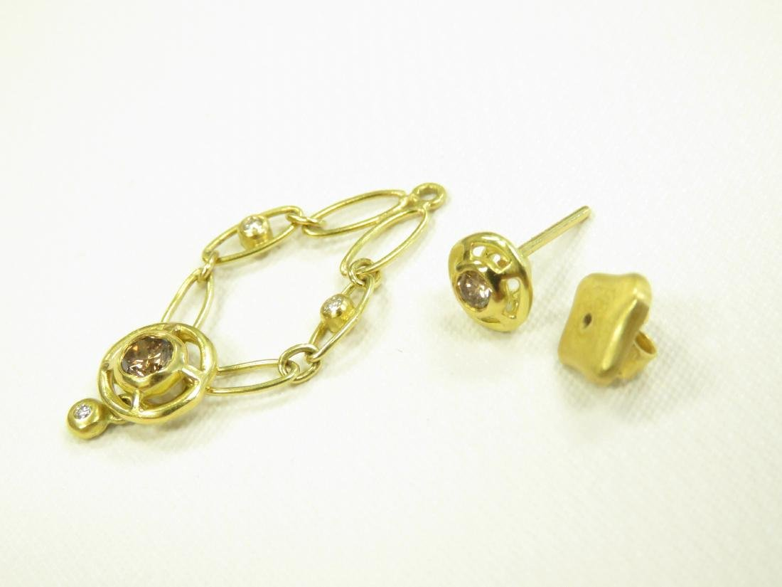 SET (3) 750 YELLOW GOLD CHOCOLATE/WHITE DIAMOND - 6