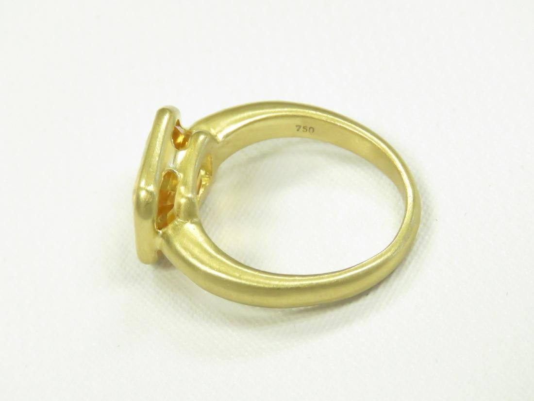 750 BURNISHED YELLOW GOLD AND EMERALD-CUT CITRINE RING. - 4