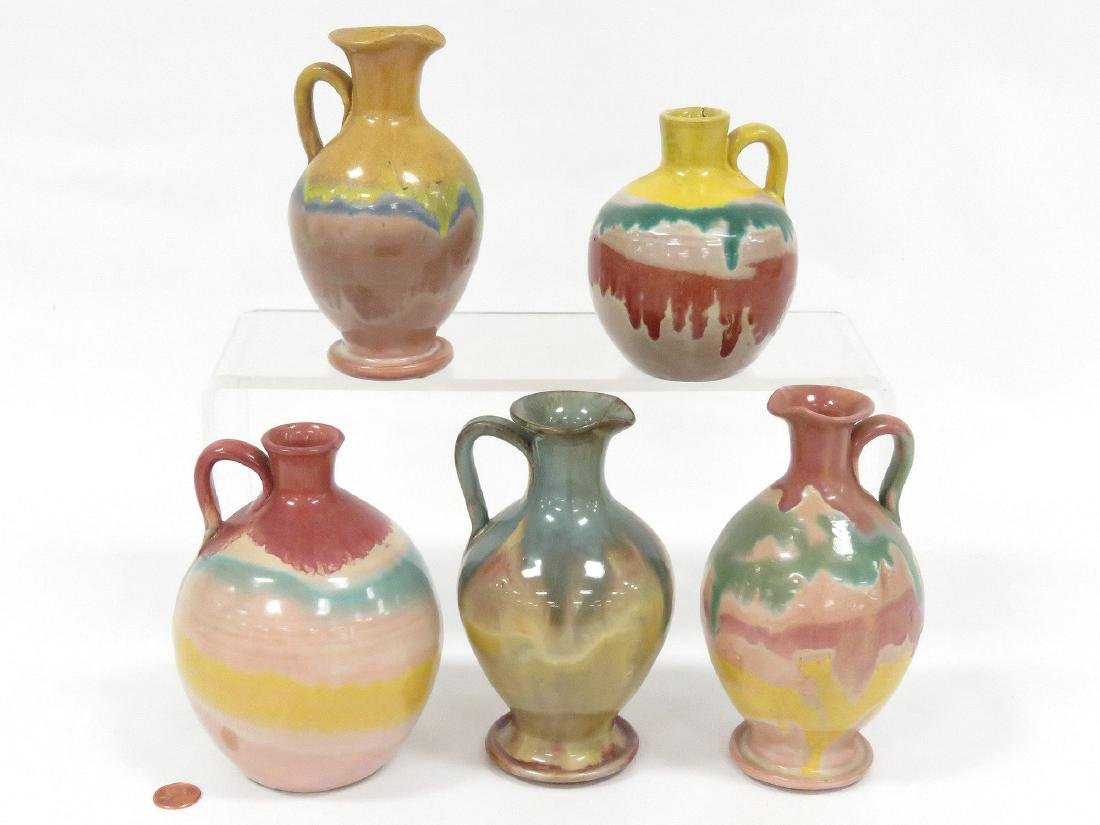 LOT (5) ASSORTED VINTAGE GLAZED REDWARE HANDLED JUGS