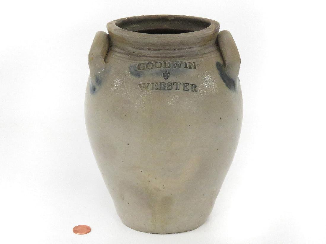 GOODWIN & WEBSTER DECORATED STONEWARE JAR, 19TH