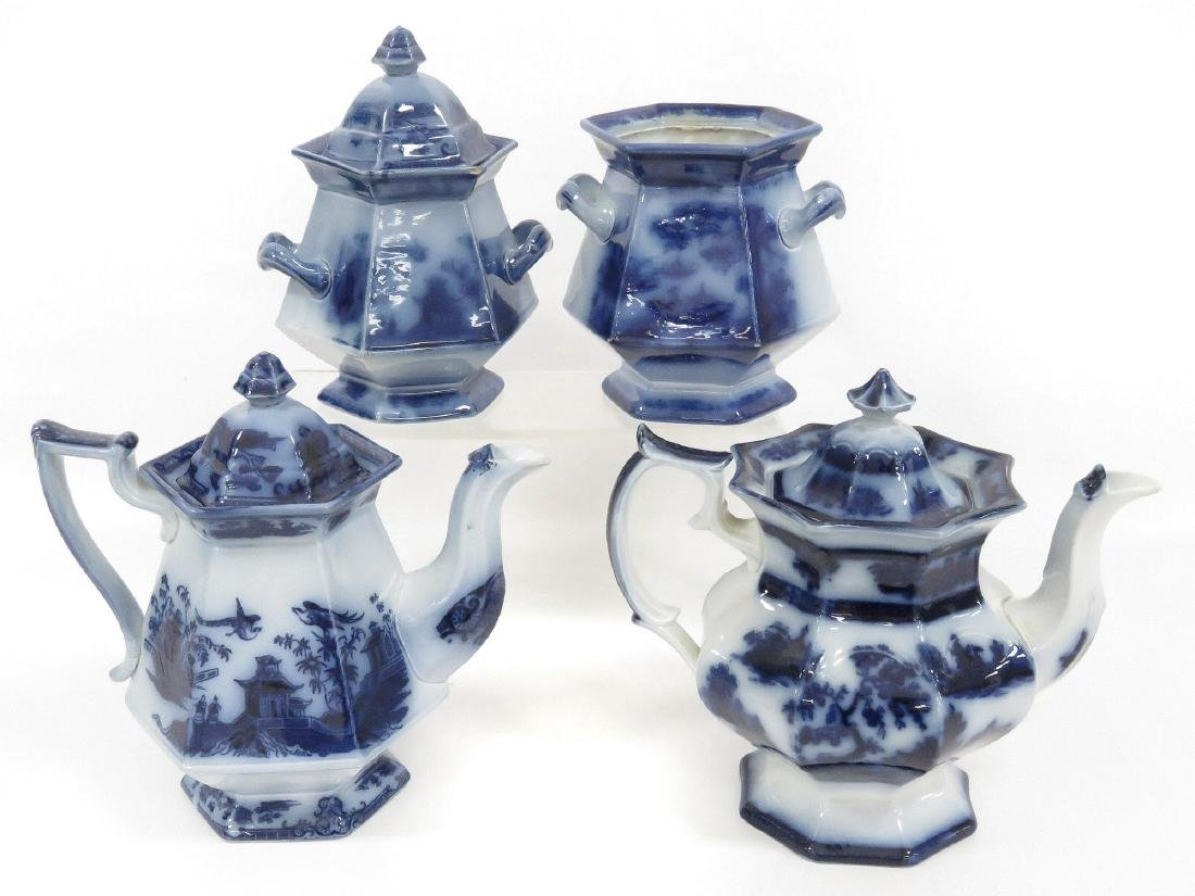 LOT (4) FLOW BLUE INCLUDING (2) COFFEE POTS INCLUDING