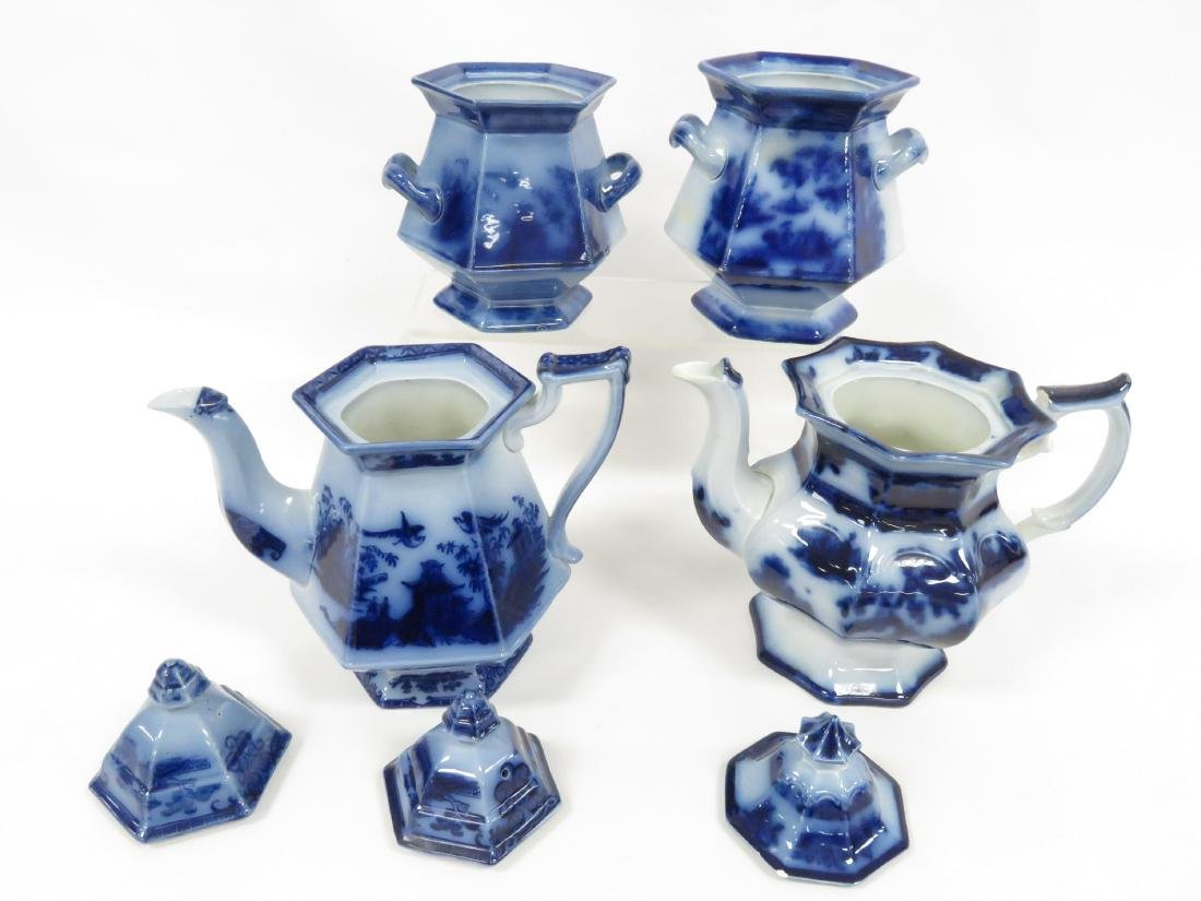 LOT (4) FLOW BLUE INCLUDING (2) COFFEE POTS INCLUDING - 2