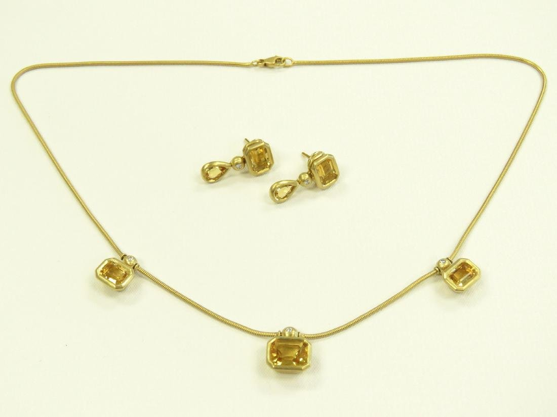 SET (2) 750 YELLOW GOLD, CITRINE AND DIAMOND NECKLACE