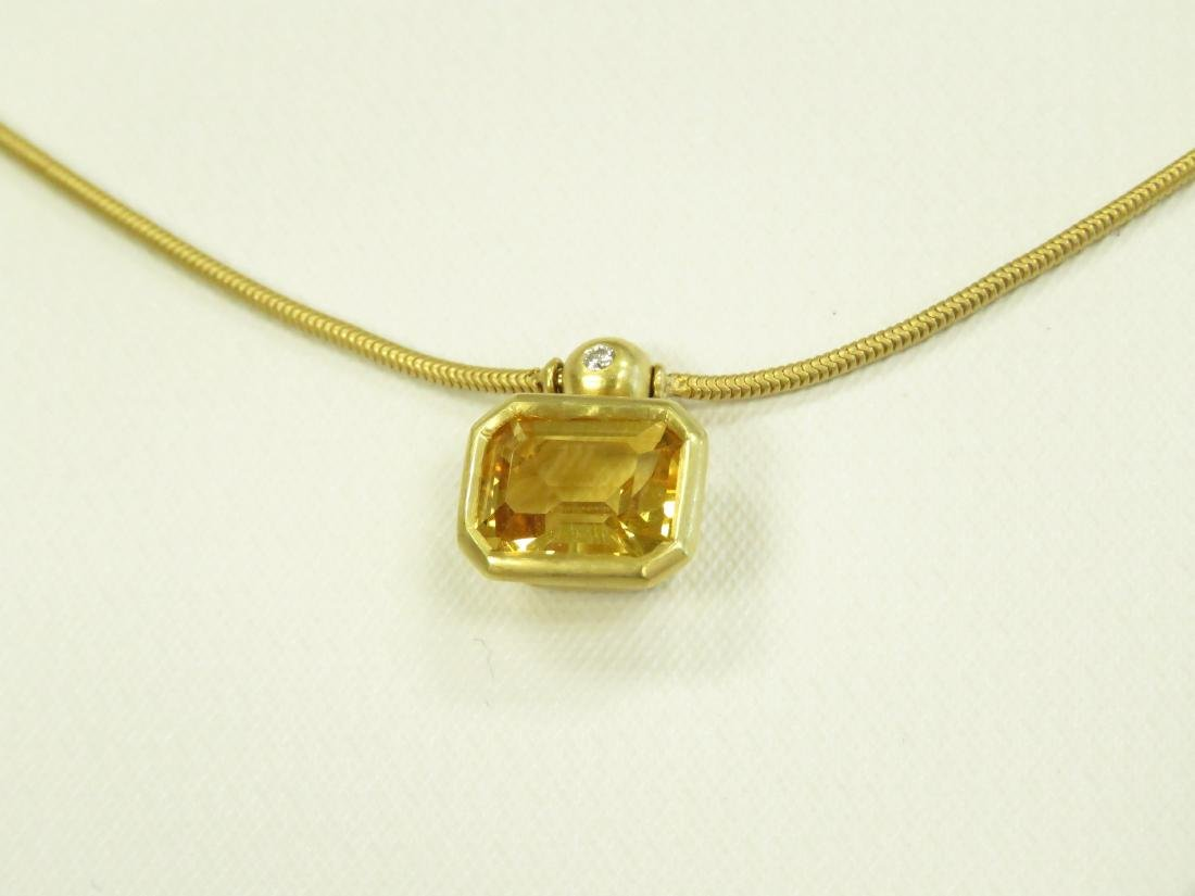 SET (2) 750 YELLOW GOLD, CITRINE AND DIAMOND NECKLACE - 2
