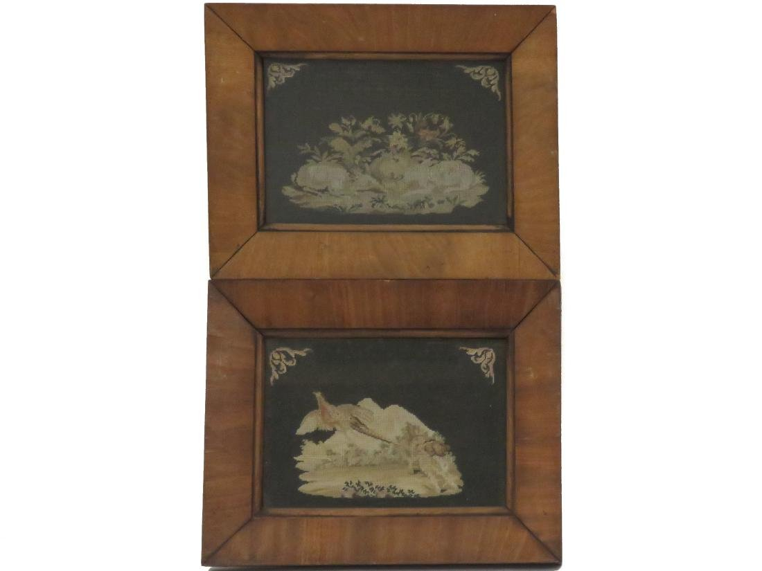 PAIR PETITE AND NEEDLE POINT PANELS, 19TH CENTURY. 7 X