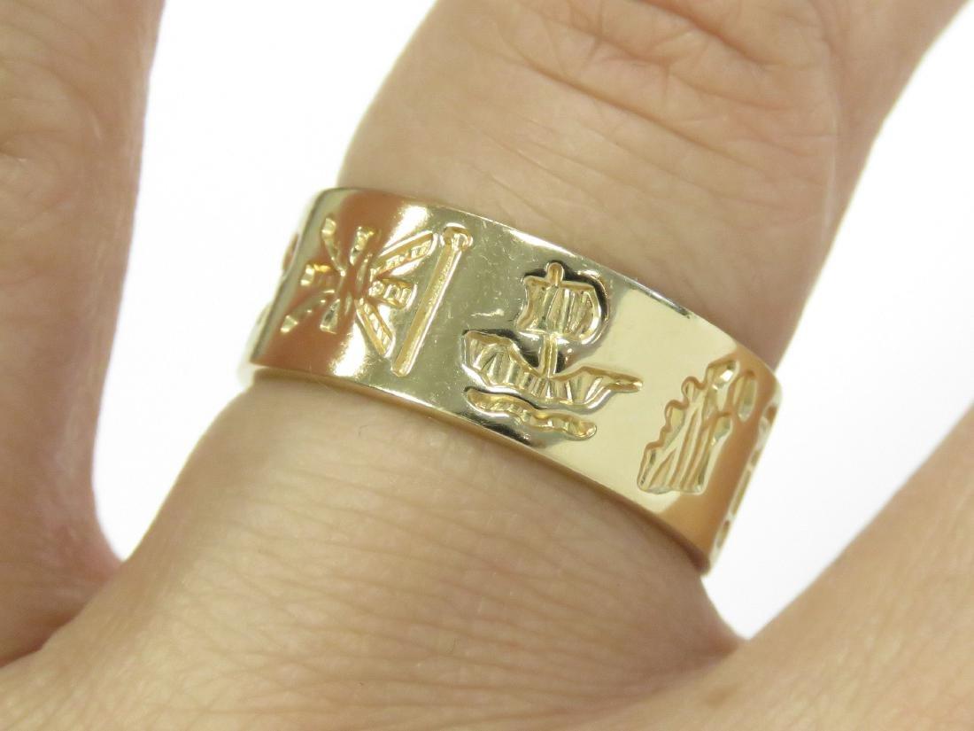 IRISH 14K YELLOW GOLD BAND. RING SIZE 8; 6.01 GRAMS