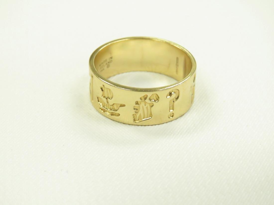 IRISH 14K YELLOW GOLD BAND. RING SIZE 8; 6.01 GRAMS - 4