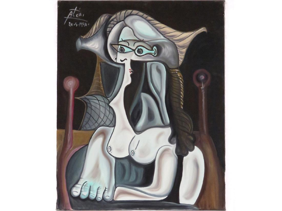 HASSAN ATIA (GERMAN 1953-), OIL ON CANVAS,