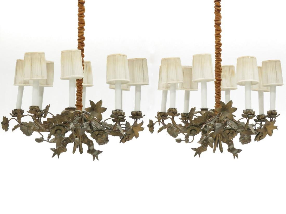 """PAIR FRENCH STYLE FLORAL-FORM CHANDELIERS. HEIGHT 23"""";"""